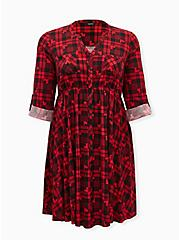 Disney Mickey Mouse Red & Black Plaid Button Front Shirt Dress, MULTI, hi-res