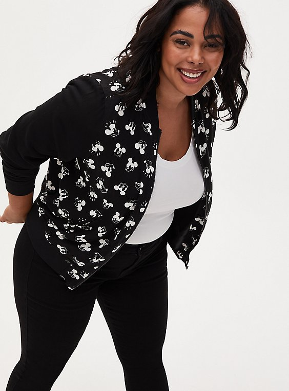 Disney Mickey Mouse Black Twill Bomber Jacket, , hi-res