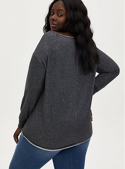 Batman Charcoal Grey Off-Shoulder Sweatshirt, HEATHER  CHARCOAL, alternate