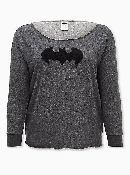 Batman Charcoal Grey Off-Shoulder Sweatshirt, HEATHER  CHARCOAL, hi-res