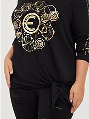 Plus Size Side Knot Top - Marvel The Eternals Foil Logo Black, DEEP BLACK, alternate