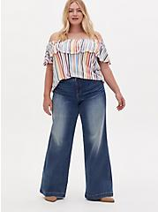 Plus Size High Rise Wide Leg Jean - Vintage Stretch Medium Wash , FIVE AND DIME, alternate