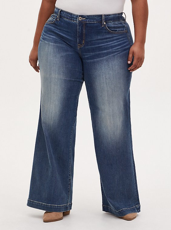 High Rise Wide Leg Jean - Vintage Stretch Medium Wash , FIVE AND DIME, hi-res