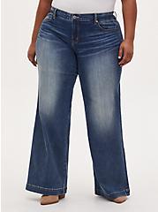 Plus Size High Rise Wide Leg Jean - Vintage Stretch Medium Wash , FIVE AND DIME, hi-res