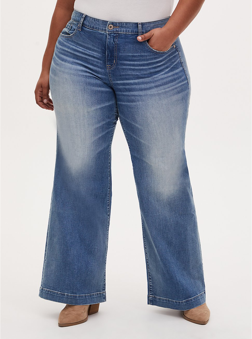 High Rise Wide Leg Jean - Vintage Stretch Light Wash , KARMA, hi-res