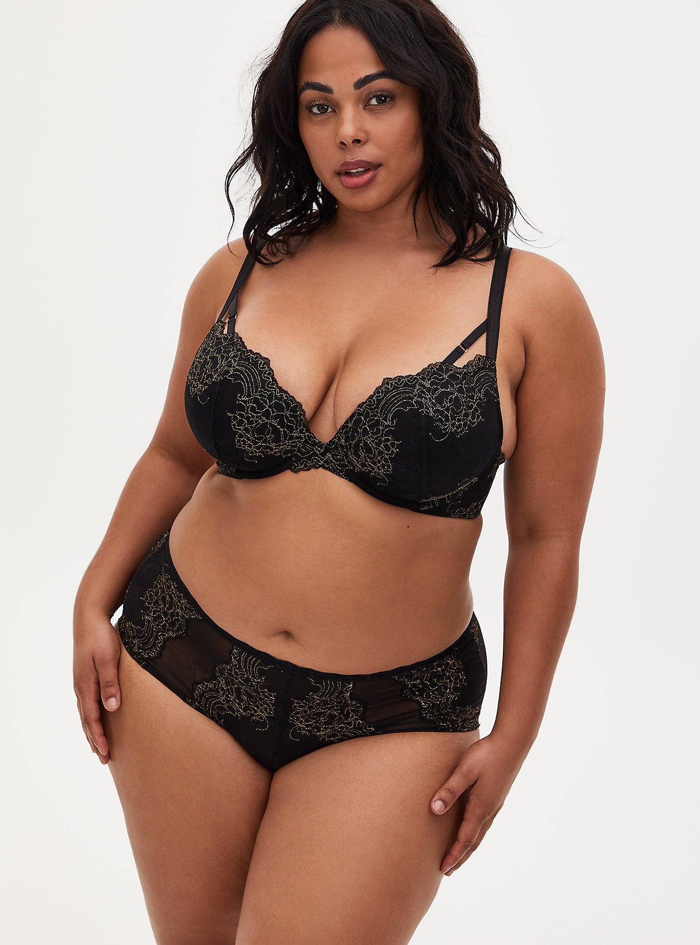 Black Lace Push-Up Plunge Bra and Cheeky Panty, , hi-res
