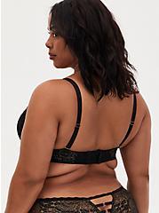 Black Lace Push-Up Multiway Plunge Bra, RICH BLACK, alternate