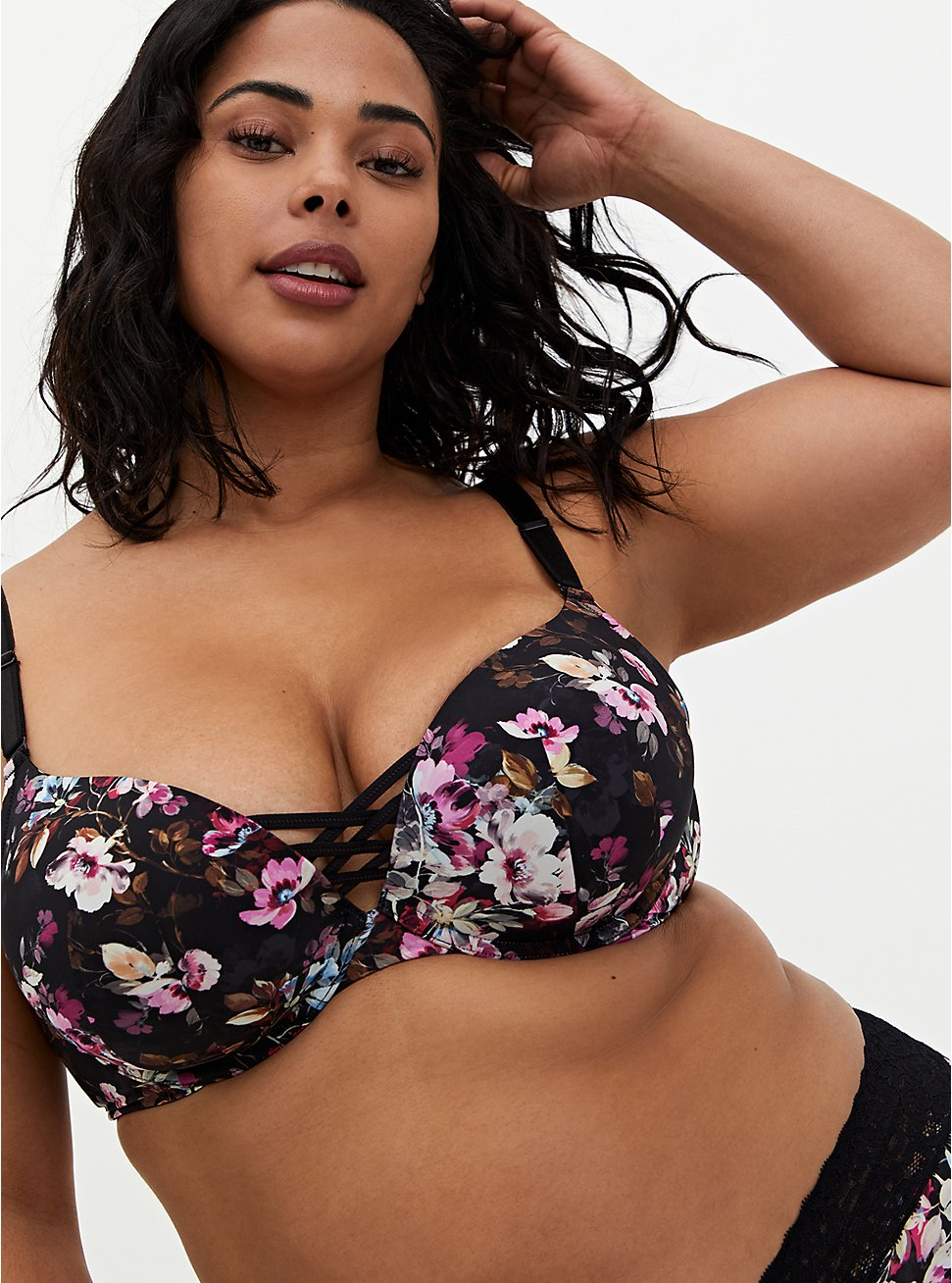 Black Floral Microfiber 360° Back Smoothing™ XO Push-Up Plunge Bra, REGAL FLORAL, hi-res
