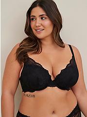 Black Lace Strappy Push-Up Plunge Bra, RICH BLACK, alternate