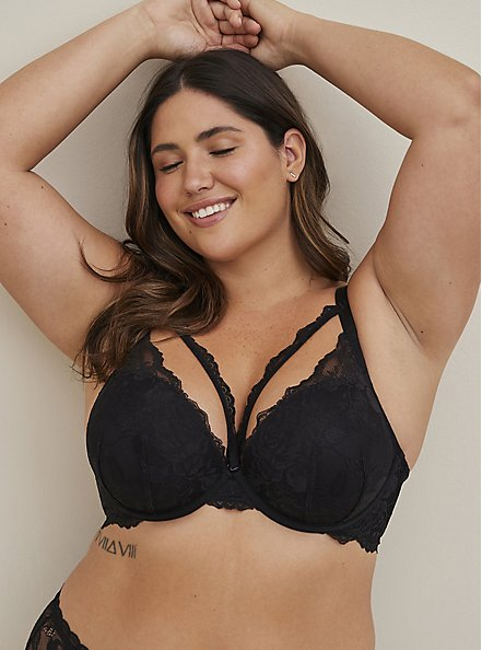 Black Lace Strappy Push-Up Plunge Bra, RICH BLACK, hi-res