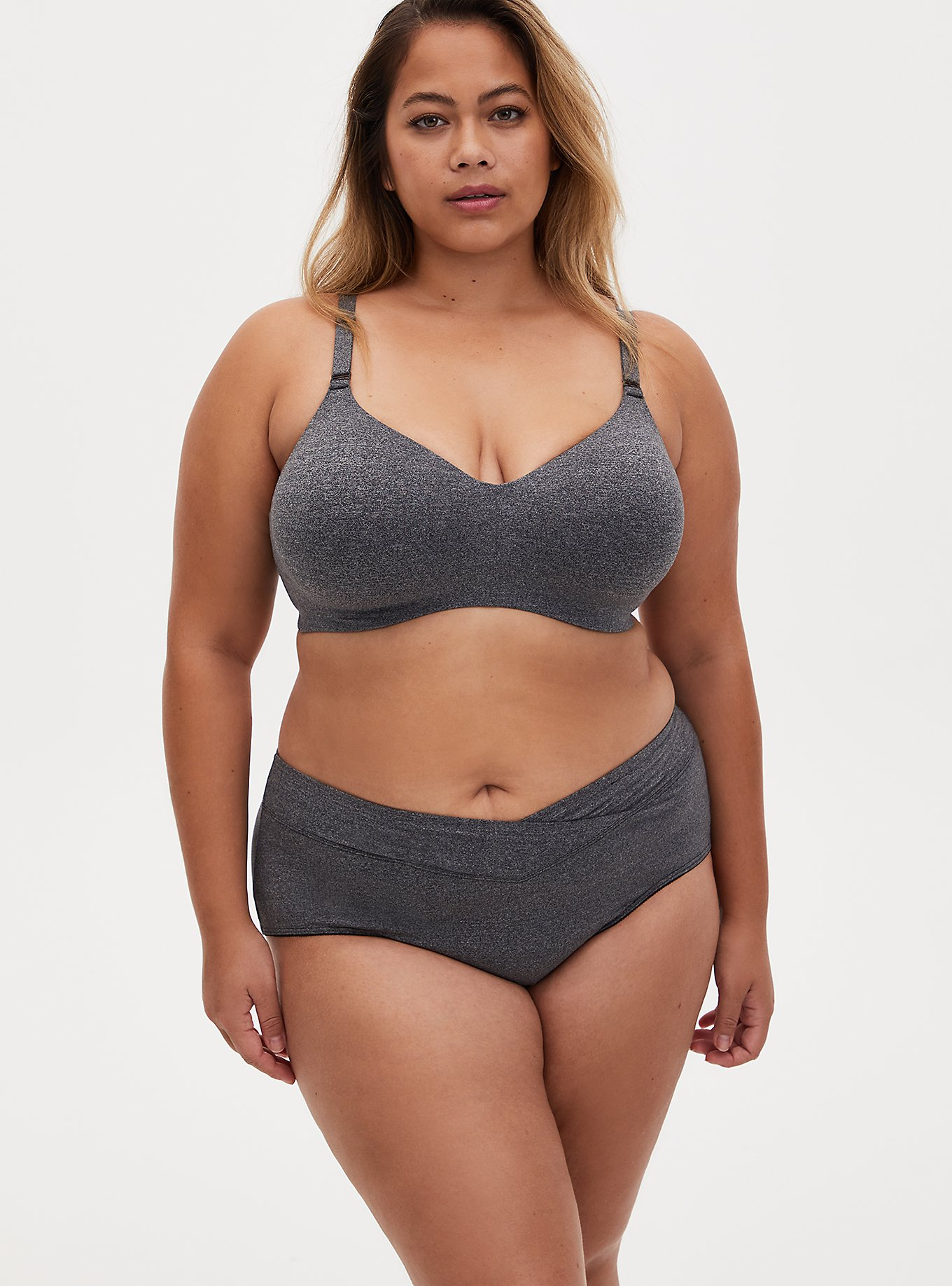 Heather Grey 360 BackSmoothing™ Lightly LinedEveryday Wire-Free Bra and Cheeky Panty, , hi-res