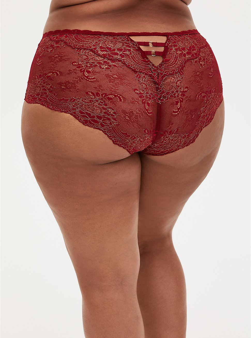 Dark Red Lace Lattice Cheeky Panty , BIKING RED, hi-res