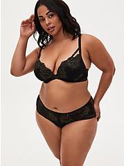 Black Lace Lattice Cheeky Panty , RICH BLACK, alternate