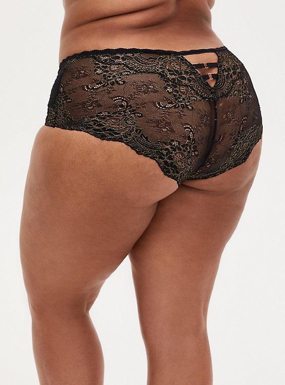 Black Lace Lattice Cheeky Panty , , hi-res