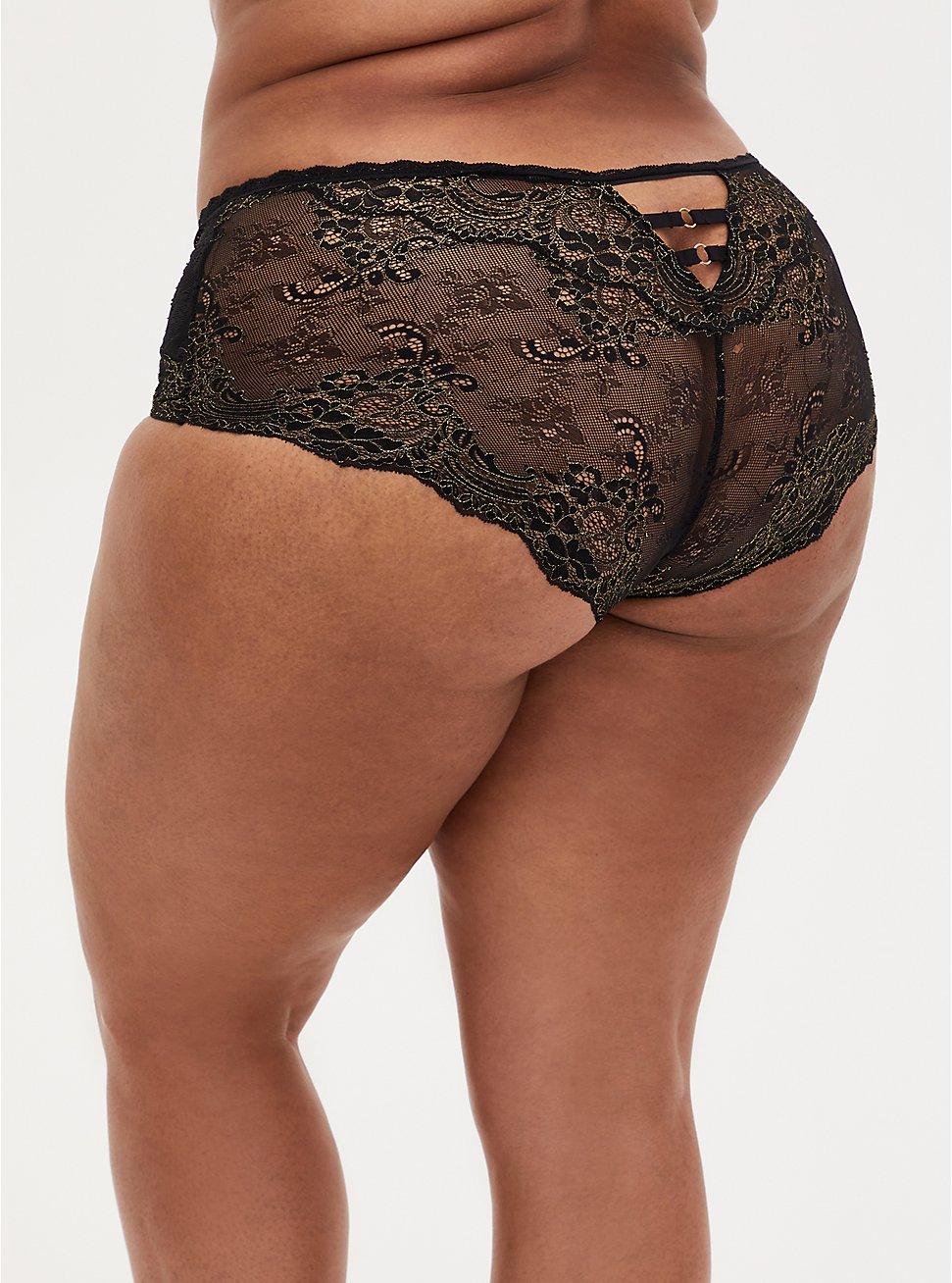 Black Lace Lattice Cheeky Panty , RICH BLACK, hi-res