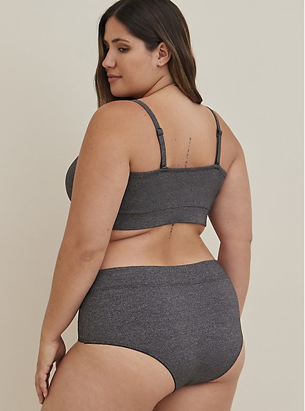 Heather Grey V-Front Microfiber Cheeky Panty, CHARCOAL  GREY, alternate
