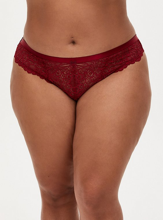 Dark Red Lace Mesh Inset Thong Panty, , hi-res