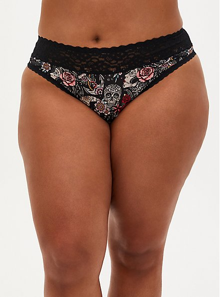 Tattoo Print Second Skin Wide Lace Thong Panty, MUERTOS TATTOO, hi-res
