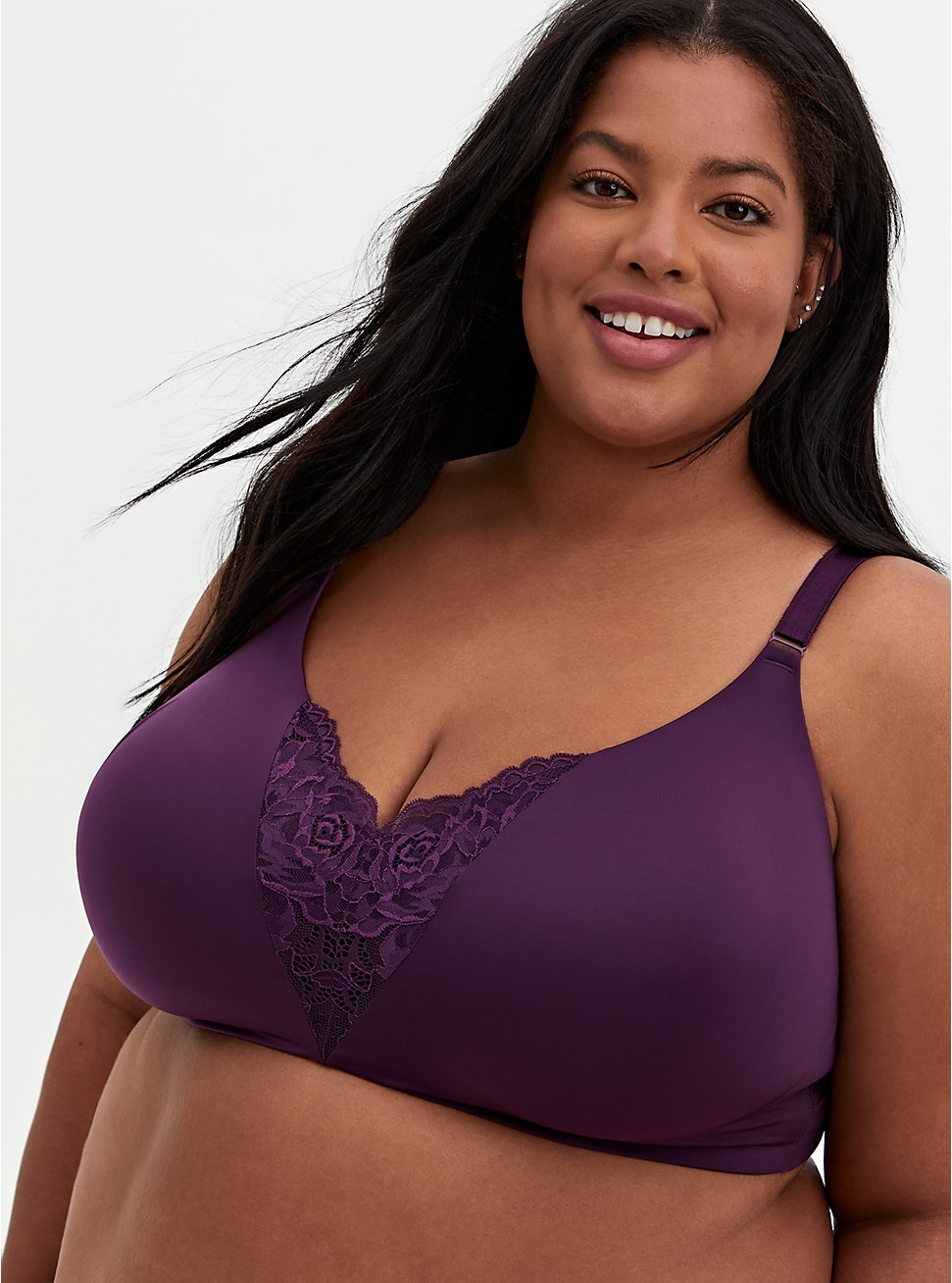 Dark Purple Lace 360° Back Smoothing™ Lightly Lined Everyday WireFree Bra, PLUM PURPLE, hi-res