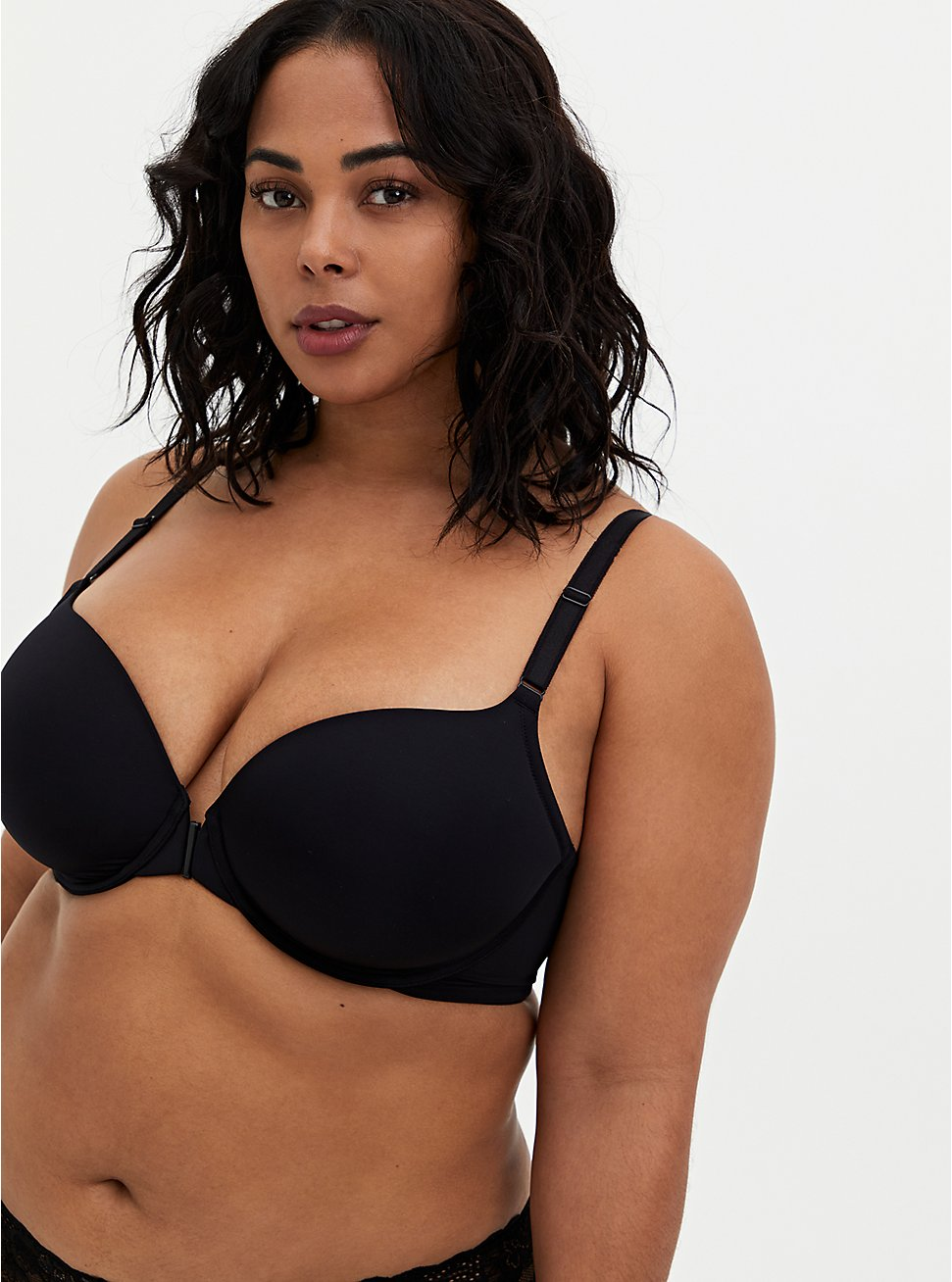 Front Closure Lightly Lined Bra - Lace Black, RICH BLACK, hi-res