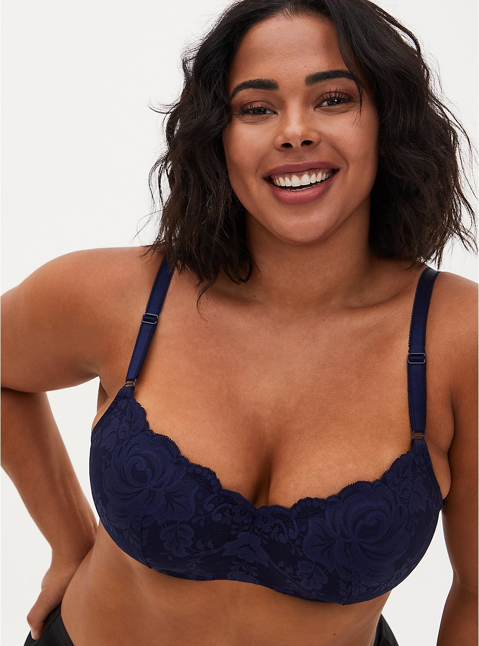 Navy Lace 360° Back Smoothing™ Lightly Lined Full Coverage Balconette Bra, PEACOAT, hi-res