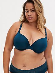 Plus Size Teal Front Clasp 360° Back Smoothing™ Lightly Lined T-Shirt Bra, REFLECTING POND, hi-res