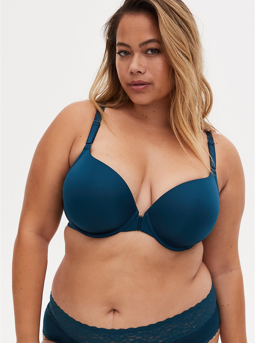 Teal Front Clasp 360° Back Smoothing™ Lightly Lined T-Shirt Bra, REFLECTING POND, hi-res