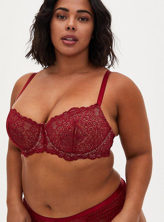 Dark Red Lace Unlined Balconette Bra, , hi-res