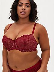 Dark Red Lace Unlined Balconette Bra, BIKING RED, hi-res