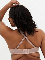 Plus Size Dusty Rose Glossy Unlined Demi Bra, WITHERED ROSE PINK, alternate
