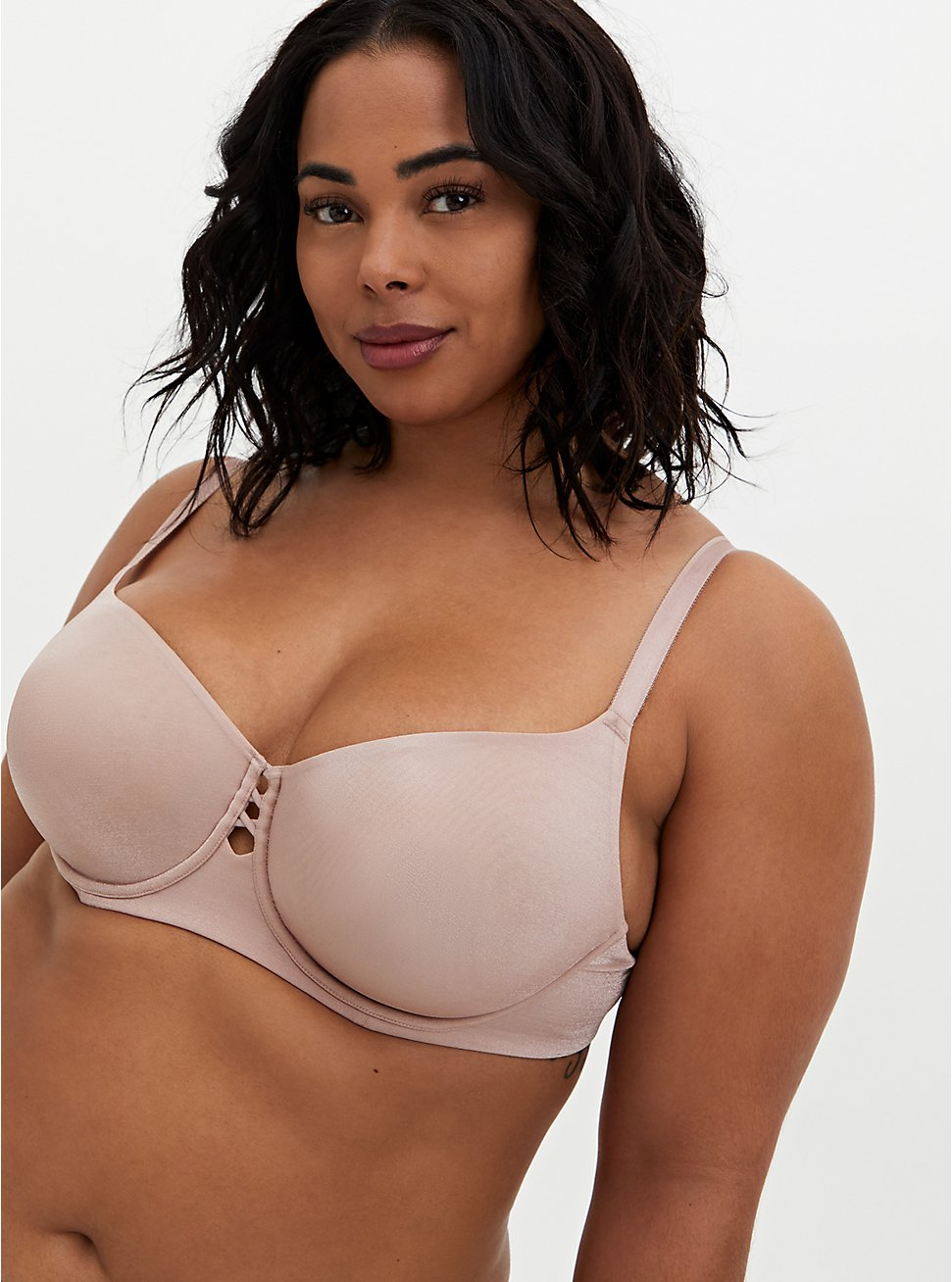 Plus Size Dusty Rose Glossy Unlined Demi Bra, WITHERED ROSE PINK, hi-res