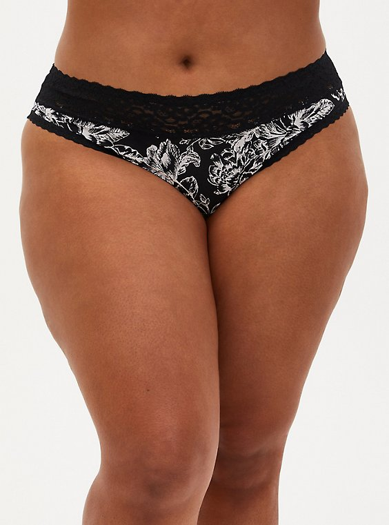 Plus Size Black & White Floral Second Skin Thong Panty, DOODLE GARDEN FLORAL, hi-res