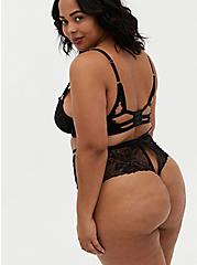 Black Lace Strappy Open Back High Waist Thong Panty, RICH BLACK, alternate
