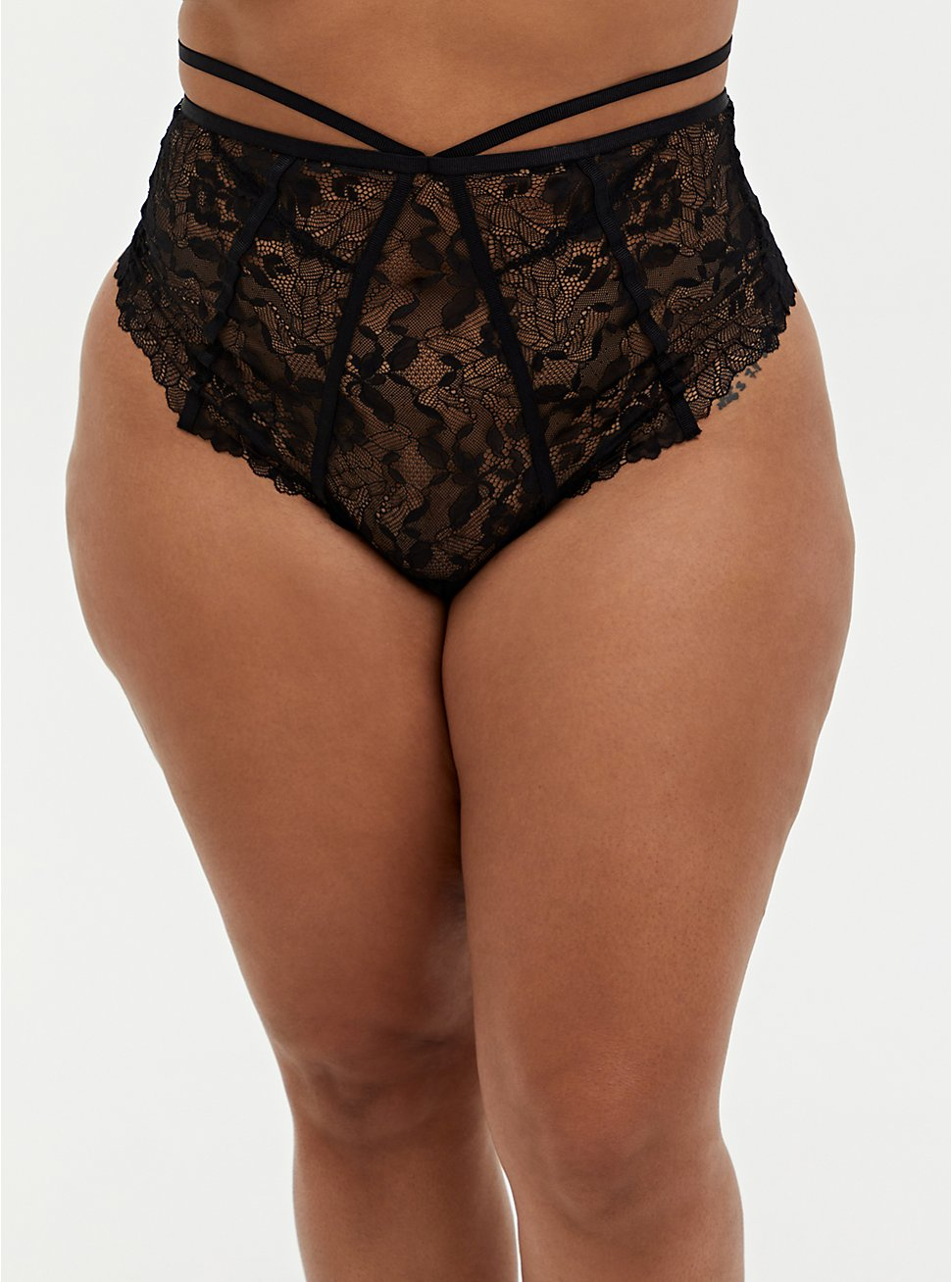Black Lace Strappy Open Back High Waist Thong Panty, RICH BLACK, hi-res