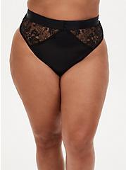 Black Satin & Lace Cutout Back High Waist Thong Panty , RICH BLACK, alternate