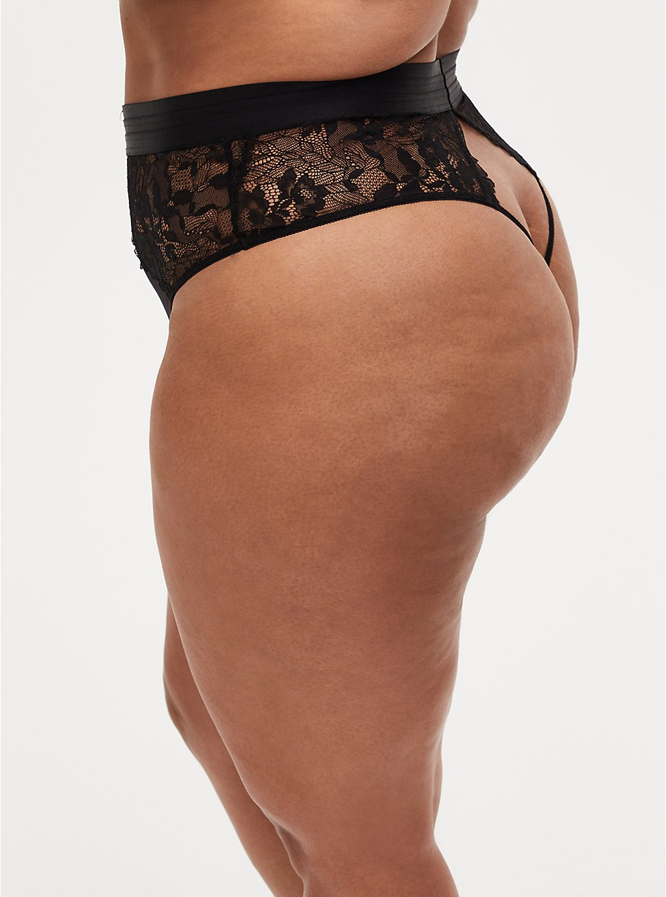 Black Satin & Lace Cutout Back High Waist Thong Panty , RICH BLACK, hi-res