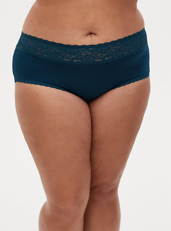 Teal Second Skin Wide Lace Cheeky Panty, RICH BLACK, hi-res