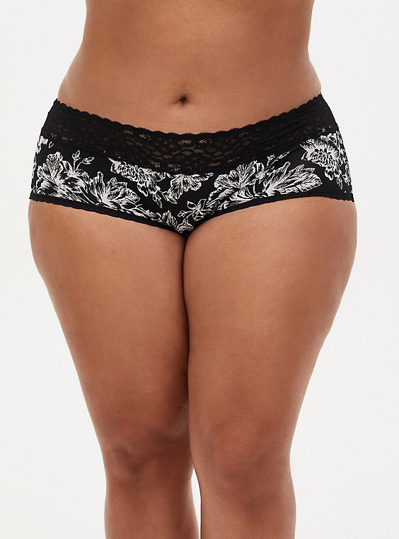 White & Black Floral Second Skin Cheeky Panty, , hi-res