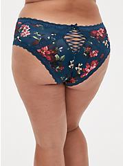 Teal Floral Microfiber Lattice Back Hipster Panty, REFLECTING POND, alternate