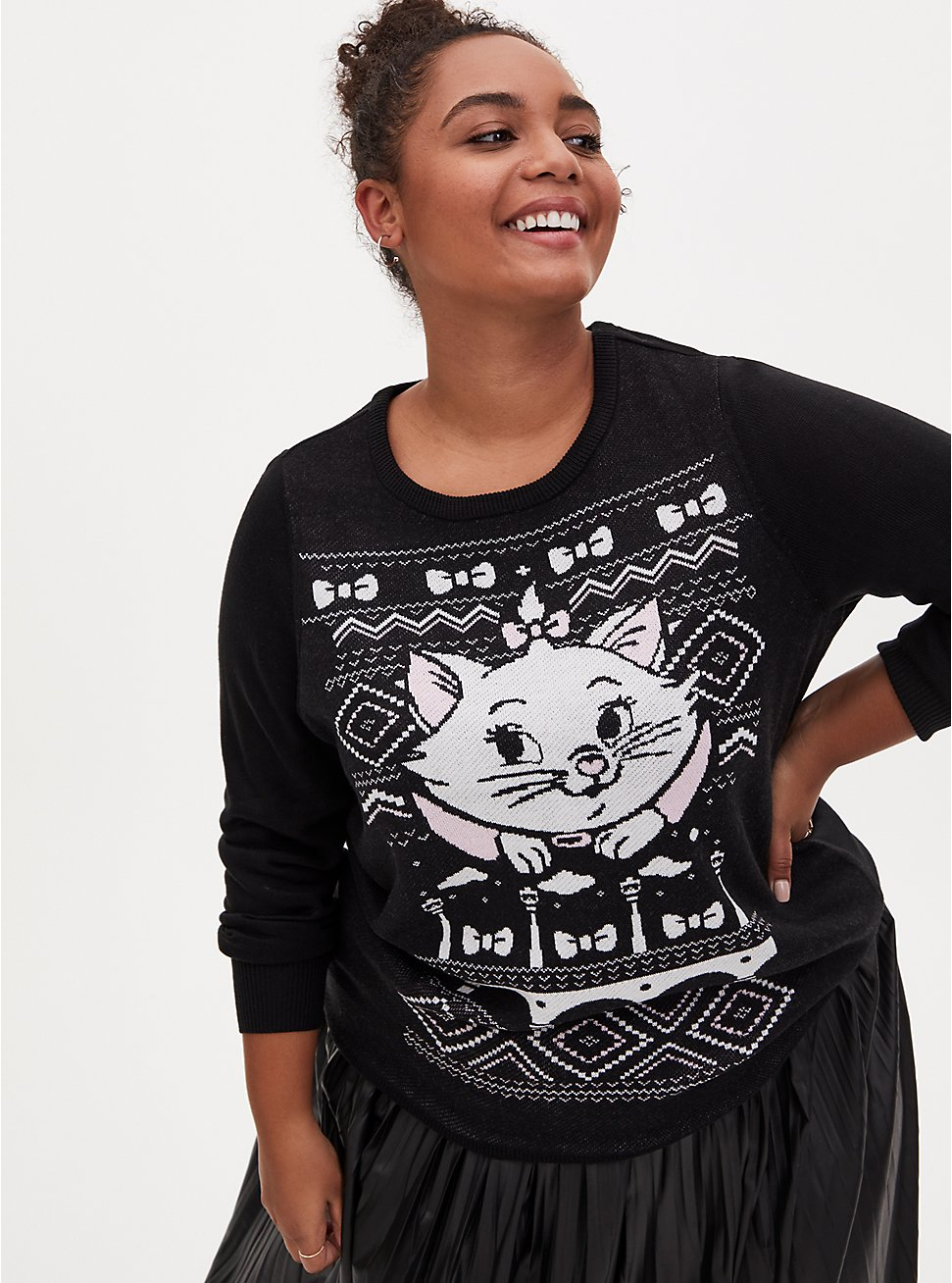 Disney The Aristocats Marie Black Ugly Sweater, MULTI, hi-res