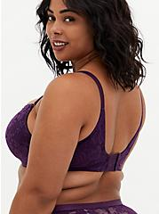 Dark Purple Lace 360° Back Smoothing™ Lightly Lined Full Coverage Balconette Bra, PLUM PURPLE, alternate