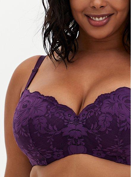 Dark Purple Lace 360° Back Smoothing™ Lightly Lined Full Coverage Balconette Bra, PLUM PURPLE, alternate