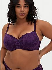 Dark Purple Lace 360° Back Smoothing™ Lightly Lined Full Coverage Balconette Bra, PLUM PURPLE, hi-res