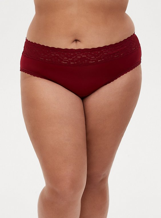 Dark Red Second Skin Wide Lace Hipster Panty, BIKING RED, hi-res