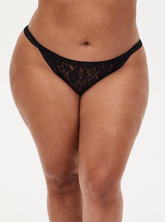 Black Lace G-String Panty , , hi-res