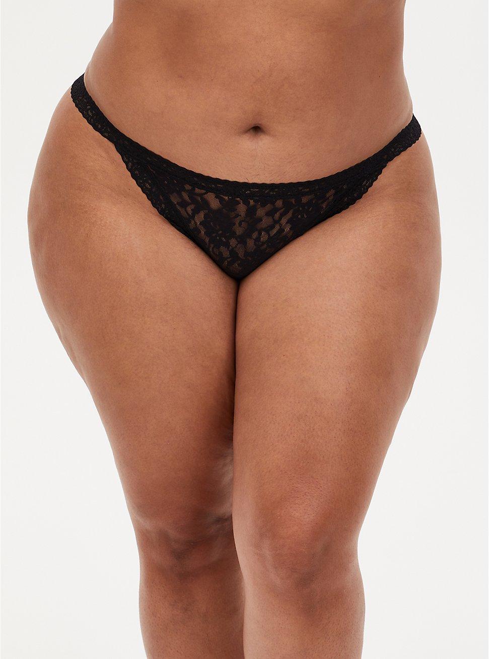 Black Lace G-String Panty , RICH BLACK, hi-res