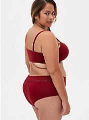 Dark Red Second Skin Wide Lace Cheeky Panty, BIKING RED, alternate