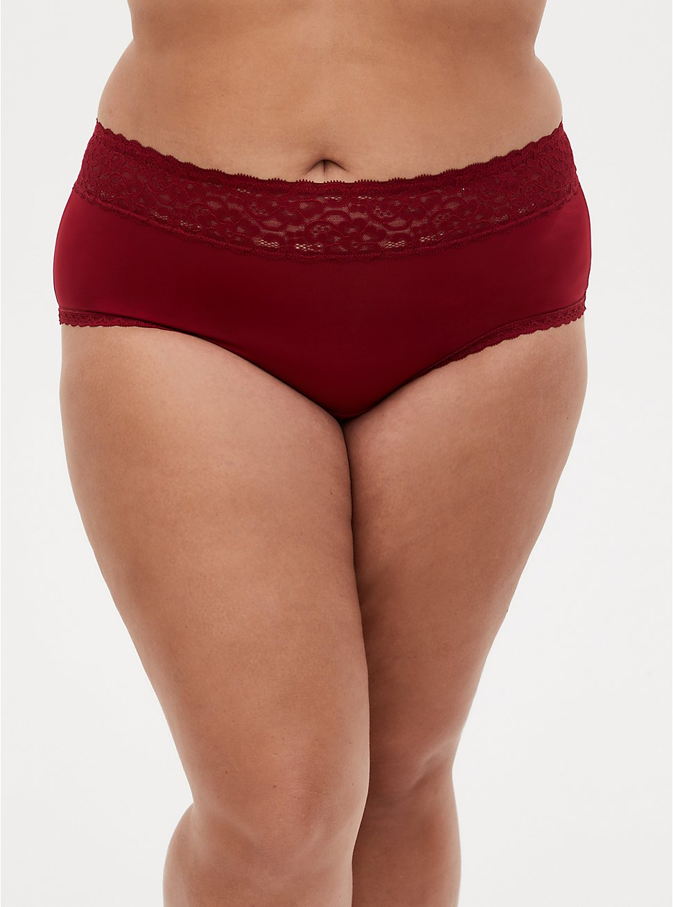Dark Red Second Skin Wide Lace Cheeky Panty, BIKING RED, hi-res