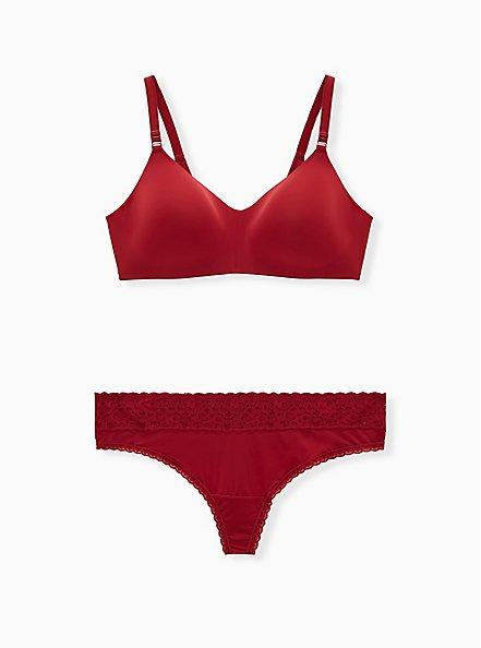 Dark Red Second Skin Wide Lace Thong Panty, BIKING RED, alternate