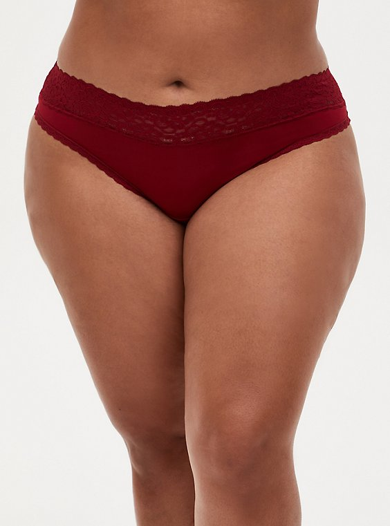 Dark Red Second Skin Wide Lace Thong Panty, BIKING RED, hi-res